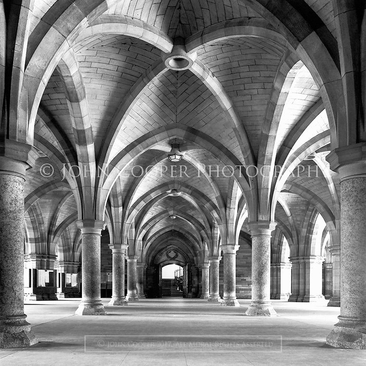 The Cloisters, University Of Glasgow. Black and white architectural photograph available to purchase as a mounted print.