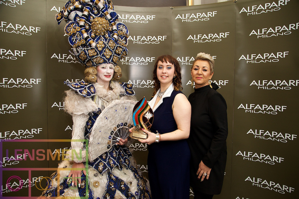AMF Fantasy<br /> <br /> Olga DeVignat, Model<br /> Veronique Kuehn, Winner, from Studio 92, Dublin 2<br /> Beatrice O'Donovan, Alfaparf Milano Ireland