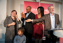 © Licensed to London News Pictures. 15/10/2015. Bristol, UK.  KERRY MCCARTHY MP, Bristol Mayoral candidate Marvin Rees, Bristol Labour councillor Hibaq Jama, with JEREMY CORBYN, leader of the Labour Party, at a rally for Labour Party members at the Trinity Centre in Bristol, to highlight and oppose the impact of the Governmentís changes to voter registration, expected to remove 1 million voters from the electoral roll by the end of the year. Photo credit : Simon Chapman/LNP