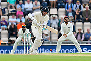 Stuart Broad of England defends while batting during the first day of the 4th SpecSavers International Test Match 2018 match between England and India at the Ageas Bowl, Southampton, United Kingdom on 30 August 2018.