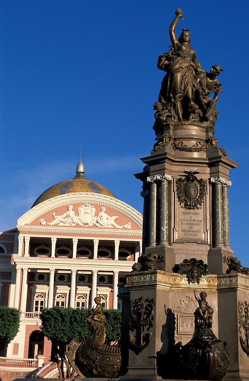 Fountain with Teatro Amazonas, Praca Sao Sebastiao, manaus, Amazonia, Brazil