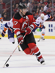 Mar 8; Newark, NJ, USA; New Jersey Devils left wing Ilya Kovalchuk (17) skates with the puck during the second period of their game against the New York Islanders at the Prudential Center.