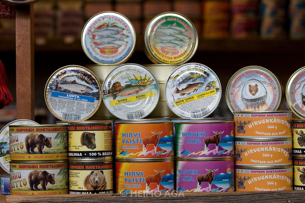 Kauppatori (Market Square). The Old Market Hall. Canned bear, elk and fish meat.