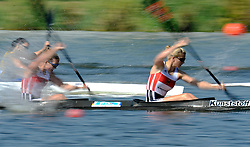 FANNY FISCHER & CONNY WASSMUTH (BOTH GERMANY) COMPETE IN WOMEN'S K2 200 METERS QUALIFICATION RACE DURING 2010 ICF KAYAK SPRINT WORLD CHAMPIONSHIPS ON MALTA LAKE IN POZNAN, POLAND...POLAND , POZNAN , AUGUST 21, 2010..( PHOTO BY ADAM NURKIEWICZ / MEDIASPORT ).
