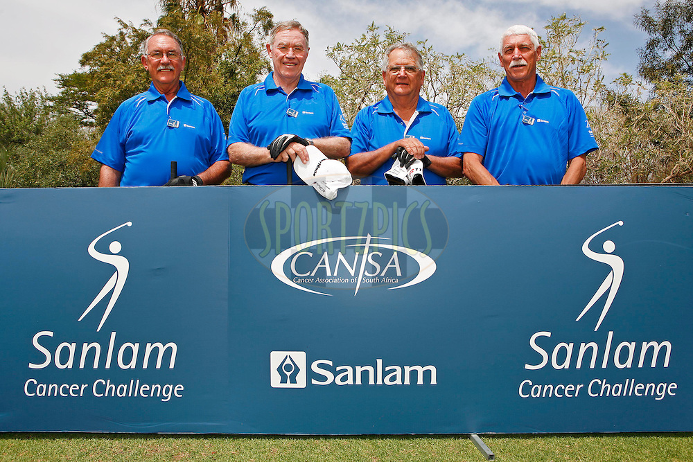 Thys Blom, Jeff Chiegwidden, Louis van Rooyen and Greg Stott during the 2nd round of the delegates competition held as part of the  Sanlam Cancer Challenge Finals 2012 held at The Lost City Golf Course at Sun City on the 23rd October 2012...Photo by Mark Wessels/SPORTZPICS