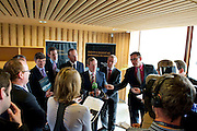 31/07/2012. The Taoiseach Enda Kenny, TD,launched a Government plan to double the value of Ireland's ocean wealth to 2.4% of GDP by 2030 and increase the turnover from our ocean economy to exceed ?6.4bn by 2020. The report, 'Harnessing Our Ocean Wealth - An Integrated Marine Plan for Ireland' was launched at the Marine Institute, Galway being questioned by the media .  Picture :Andrew Downes..