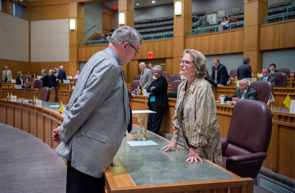 em053017a/a/Senate Minority Leader Stuart Ingle, R-Portales, left, and Senate Pres. Pro Tem. Mary Kay Papen, D-Las Cruces, talk before the Senate reconvenes during the special session at the State Capitol in Santa Fe, Tuesday May 30, 2017. Both chambers of the Legislature ended the special session fairly quickly on Tuesday afternoon. (Eddie Moore/Albuquerque Journal