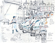 A fishmonger gets ready to throw a fish over to his co-workers behind the counter at world famous Pike Place Fish Market. (Gabriel Campanario / The Seattle Times)<br /> <br /> REPRODUCTION INCLUDES SEAM OF SKETCHBOOK