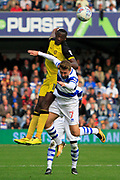 Burton Albion striker Lucas Akins (10) and Queens Park Rangers midfielder Luke Freeman (7) battle for the ball during the EFL Sky Bet Championship match between Queens Park Rangers and Burton Albion at the Loftus Road Stadium, London, England on 23 September 2017. Photo by Richard Holmes.