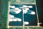 Seen from one mile above, wastewater is aerated after use in the papermaking process.  Paper mills use large amounts of freshwater to dilute chemical wastes.