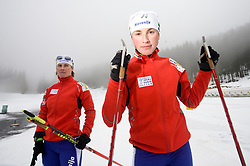 Andreja Mali and Dijana Ravnikar at training session of Slovenian biathlon team before new season 2009/2010,  on November 16, 2009, in Pokljuka, Slovenia.   (Photo by Vid Ponikvar / Sportida)