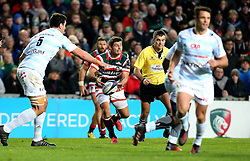 Ben Youngs of Leicester Tigers passes the ball - Mandatory by-line: Robbie Stephenson/JMP - 23/10/2016 - RUGBY - Welford Road Stadium - Leicester, England - Leicester Tigers v Racing 92 - European Champions Cup