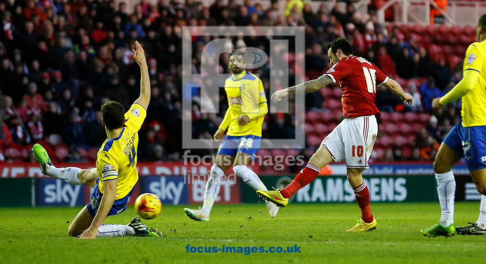Lee Tomlin (10) of Middlesbrough scoring the opening goal during the Sky Bet Championship match at the Riverside Stadium, Middlesbrough<br /> Picture by Simon Moore/Focus Images Ltd 07807 671782<br /> 17/01/2015