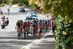 Lucy Kennedy (AUS) leads the race up to the finish line for the penultimate time on Stage 3 of 2020 Santos Women's Tour Down Under, a 109.1 km road race from Nairne to Stirling, Australia on January 18, 2020. Photo by Sean Robinson/velofocus.com