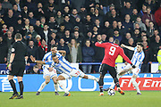 Huddersfield's Scott Malone gets the ball from Manchester United Romelu Lukaku during the The FA Cup match between Huddersfield Town and Manchester United at the John Smiths Stadium, Huddersfield, England on 17 February 2018. Picture by George Franks.
