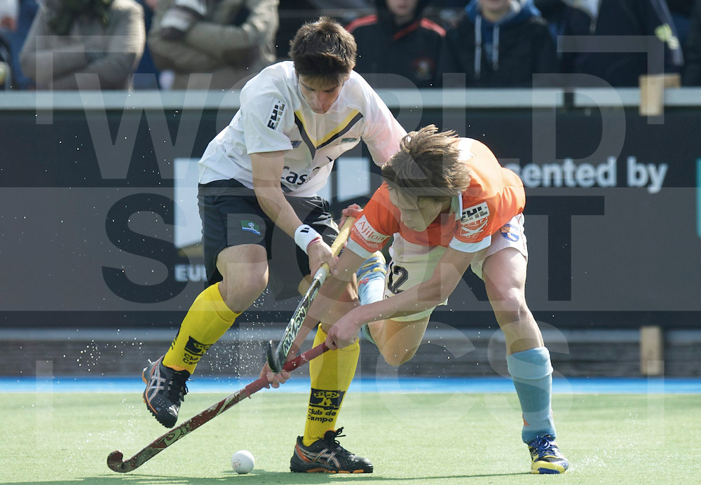 Amstelveen - Euro Hockey league KO16.HC Bloemendaal - Club de Campo de Madrid.foto: Pelle Vos (orange) and Eduardo Villacieros (white)..FFU PRESS AGENCY COPYRIGHT FRANK UIJLENBROEK.