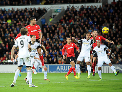Cardiff City's Steven Caulker scores - Photo mandatory by-line: Joe Meredith/JMP - Tel: Mobile: 07966 386802 03/11/2013 - SPORT - FOOTBALL - The Cardiff City Stadium - Cardiff - Cardiff City v Swansea City - Barclays Premier League