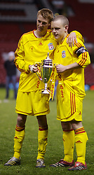Manchester, England - Thursday, April 26, 2007: Liverpool's Stephen Darby and captain Jay Spearing celebrate winning the FA Youth Cup for the second successive year after beating Manchester United on penalties during the FA Youth Cup Final 2nd Leg at Old Trafford. (Pic by David Rawcliffe/Propaganda)