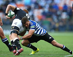 Jonny Kotze of Western Province tackles Philip van der Walt of the Sharks during the Currie Cup Premier Division match between the DHL Western Province and the Sharks held at the DHL Newlands Rugby Stadium in Cape Town, South Africa on the 3rd September  2016<br /> <br /> Photo by: Shaun Roy / RealTime Images