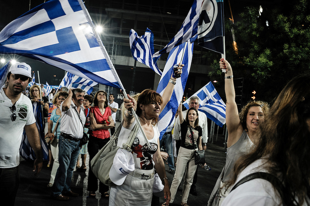 GREECE ATHENS 15 JUNE 2012 People attend the election campaign speech of Antonis Samaras, leader of New Democracy, in Syntagma square.