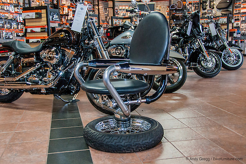 Chairs And Table Made From Reused Harley Davidson Motorcycle Parts. Shown  Here At Bald Eagle.