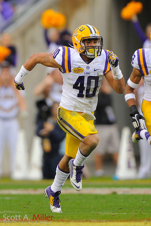 LSU Tigers  linebacker Duke Riley (40) during LSU's 21-14 win over the Iowa Hawkeyes in the 2014 Outback Bowl at Raymond James Stadium on Jan 1, 2014  in Tampa, Florida. ©2014 Scott A. Miller
