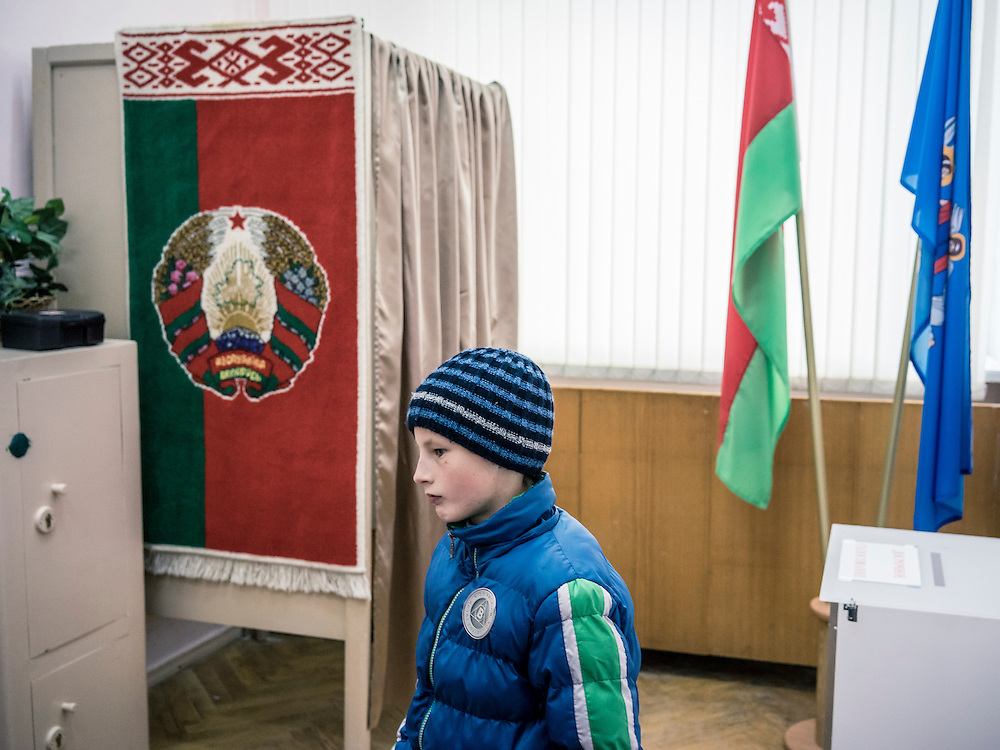 A polling station where early voting is taking place on Wednesday, October 7, 2015 in Minsk, Belarus. A presidential election is planned for Sunday with current president Alexander Lukashenko expected to secure a fifth term, though as in the past, the election is not expected to be declared free by monitors or the opposition.