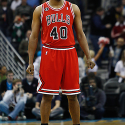 February 12, 2011; New Orleans, LA, USA; Chicago Bulls center Kurt Thomas (40) against the New Orleans Hornets during the first quarter at the New Orleans Arena.   Mandatory Credit: Derick E. Hingle