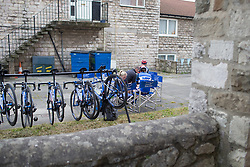 Team WNT riders prepare for the Tour de Yorkshire - a 122.5 km road race, between Tadcaster and Harrogate on April 29, 2017, in Yorkshire, United Kingdom.