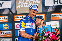 Podium with winner ALAPHILIPPE Julian of Quick-Step Floors and 2nd VALVERDE Alejandro	of Movistar Team after the 2018 La Flèche Wallonne race, Huy, Belgium, 18 April 2018, Photo by Thomas van Bracht / PelotonPhotos.com | All photos usage must carry mandatory copyright credit (Peloton Photos | Thomas van Bracht)