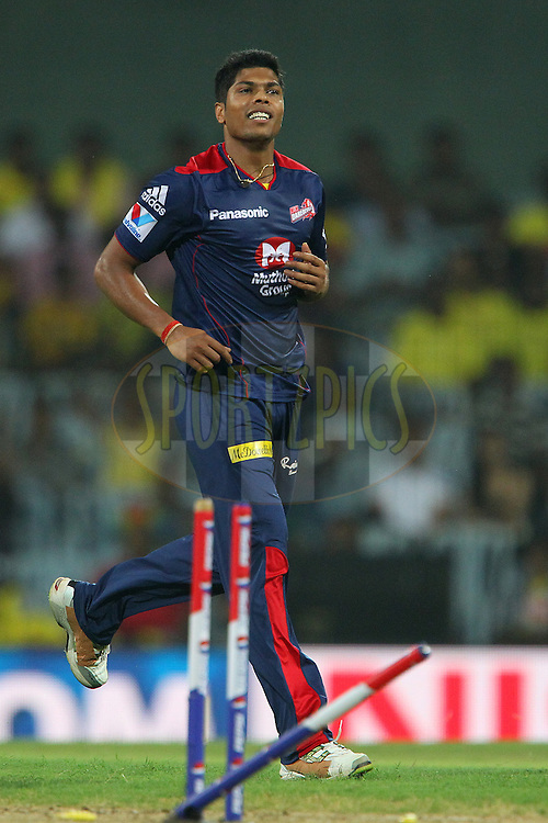 Umesh Yadav celebrates the wicket of Ravindra Jadeja  during match 64 of the Pepsi Indian Premier League between The Chennai Superkings and the Delhi Daredevils held at the MA Chidambaram Stadium in Chennai on the 14th May 2013..Photo by Ron Gaunt-IPL-SPORTZPICS   .. .Use of this image is subject to the terms and conditions as outlined by the BCCI. These terms can be found by following this link:..http://www.sportzpics.co.za/image/I0000SoRagM2cIEc