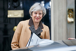 © Licensed to London News Pictures. 14/03/2017. London, UK. Prime Minister THERESA MAY leaves Downing Street to go to Parliament after a cabinet meeting in Downing Street, London on Tuesday, 14 March 2017. Photo credit: Tolga Akmen/LNP