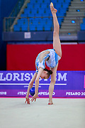 Usmanova Nurinisso during qualification at the ball in Pesaro World Cup in 2018. Nurinisso was born in Uzbekistan Samarkand region in 2000.