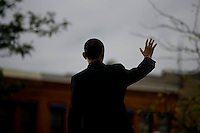 LA CROSSE, WI - OCTOBER 1:   Presidential candidate Senator Barack Obama (D-IL) greets supporters after speaking at a rally in La Crosse Wis. Wednesday Oct. 1, 2008. Senator Obama concentrated on the economy and the wall street crisis that is still in turmoil.  (Photo by Darren Hauck/Getty Images)