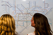 Simon Patterson's re-imagining of the London Underground map - 'Mapping London' exhibition as part of the Totally Thames Festival - It is the work of Daniel Crouch Rare Books and includes London maps spanning over 500 years. It includes the earliest map of London ever printed from the 16th century, right up to maps from the present day, such as Stephen Walter's 2012 creation 'Subterranea', showing the sewers, tubes, underground rivers and burial grounds that lie under the city.