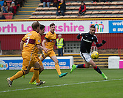 Dundee&rsquo;s Marcus Haber bursts clear of the Motherwell defence - Motherwell v Dundee, Fir Park, Motherwell, Photo: David Young<br /> <br />  - &copy; David Young - www.davidyoungphoto.co.uk - email: davidyoungphoto@gmail.com