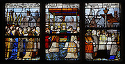 Procession at Caux organised by the brotherhood of the Holy Sacrament, stained glass window donated by the Caudebec priests, 16th century, Renaissance, possibly by the workshops of Nijmegen Arnolt (Arnold van Nijmegen), Dutch master glassmaker, in the Chapelle Saint Gilles in the Eglise Notre-Dame de Caudebec-en-Caux, a Flamboyant Gothic catholic church built 15th and 16th centuries, in Caudebec-en-Caux, Normandy, France. The church is listed as a historic monument. Picture by Manuel Cohen