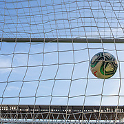BARCELONA, SPAIN - August 18:  A generic image of a football goal mouth showing the netting, the goal mouth, the stadium an a La Liga official professional match ball hitting the back of the net at RCDE Stadium on August 18th 2019 in Barcelona, Spain. (Photo by Tim Clayton/Corbis via Getty Images)