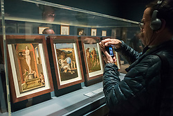 "© Licensed to London News Pictures. 28/02/2019. LONDON, UK. A visitor views works, c1500, by Giovanni Bellini. Preview of ""The Renaissance Nude"", an exhibition at the Royal Academy of Arts in Piccadilly of 90 works examining the emergence of the nude in European art.  Works by artists including Leonardo da Vinci to Michelangelo are on display in the Sackler Galleries 3 March to 2 June 2019.  Photo credit: Stephen Chung/LNP"