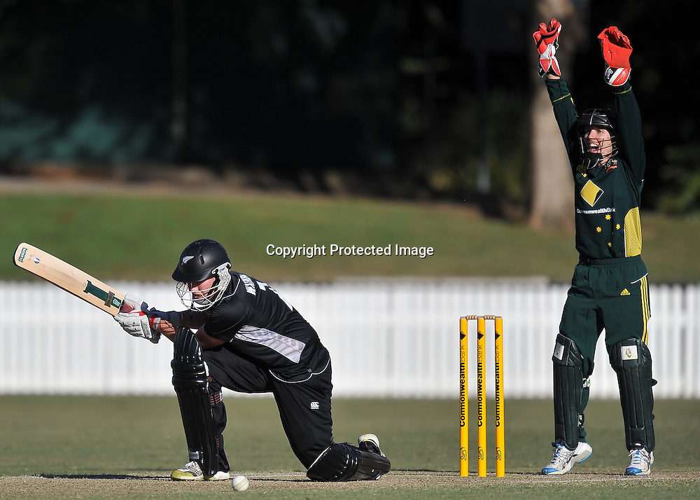 Aimee Watkins out LBW off the bowling of Erin Osbourne ~ Game 7 (ODI) of the Rose Bowl Trophy Cricket played between Australia and New Zealand at Alan Border Field in Brisbane (Australia) ~ Thursday 16th June 2011 ~ Photo : Steven Hight (AURA Images) / Photosport