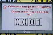 Scoreboard with time of open training for press while official training one day before international friendly match between Poland and Lithuania at PGE Arena in Gdansk, Poland.<br /> <br /> Poland, Gdansk, June 05, 2014<br /> <br /> Picture also available in RAW (NEF) or TIFF format on special request.<br /> <br /> For editorial use only. Any commercial or promotional use requires permission.<br /> <br /> Mandatory credit:<br /> Photo by &copy; Adam Nurkiewicz / Mediasport
