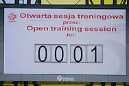 Scoreboard with time of open training for press while official training one day before international friendly match between Poland and Lithuania at PGE Arena in Gdansk, Poland.<br /> <br /> Poland, Gdansk, June 05, 2014<br /> <br /> Picture also available in RAW (NEF) or TIFF format on special request.<br /> <br /> For editorial use only. Any commercial or promotional use requires permission.<br /> <br /> Mandatory credit:<br /> Photo by © Adam Nurkiewicz / Mediasport