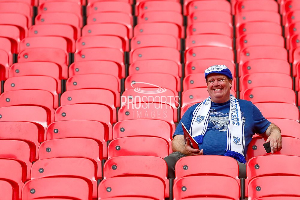Tranmere Rovers football fans, football supporters smiles after the EFL Sky Bet League 2 Play Off Final match between Newport County and Tranmere Rovers at Wembley Stadium, London, England on 25 May 2019.