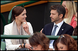 Great Britain's Olympians Sir Victoria Pendleton with her partner  Scott Gardner,  in the royal box at The Wimbledon Tennis Championships<br /> The All England Lawn Tennis Club, Wimbledon, United Kingdom<br /> Saturday, 29th June 2013<br /> Picture by Andrew Parsons / i-Images
