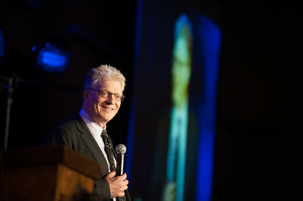 Sir Ken Robinson speaks to a crowd of guests at the Davenport about education and how it must be reformed worldwide.<br />