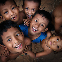 Happy children in the streets of Cambodia