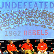 Members of the 1962 Mississippi football team hold a discussion at the University of Mississippi in Oxford, Miss., Saturday, Sept. 15, 2012. (Photo/Thomas Graning)