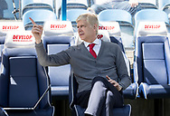 Arsene Wenger of Arsenal points whilst sitting on the bench before the Premier League match at the John Smiths Stadium, Huddersfield<br /> Picture by James Wilson/Focus Images Ltd 07522 978714<br /> 13/05/2018