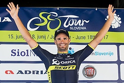 Winner Luka Mezgec (SLO) of Orica - Scott celebrates during trophy ceremony after the Stage 2 of 24th Tour of Slovenia 2017 / Tour de Slovenie from Ljubljana to Ljubljana (169,9 km) cycling race on June 16, 2017 in Slovenia. Photo by Vid Ponikvar / Sportida