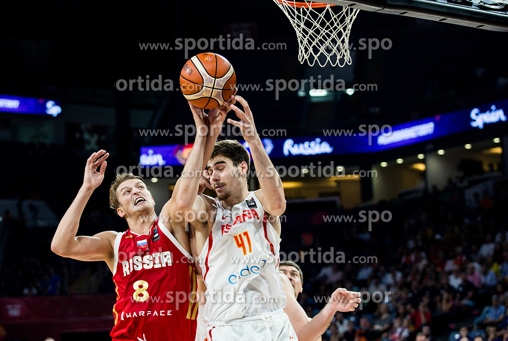 Vladimir Ivlev of Russia vs Juancho Hernangomez of Spain during basketball match between National Teams  Spain and Russia at Day 18 in 3rd place match of the FIBA EuroBasket 2017 at Sinan Erdem Dome in Istanbul, Turkey on September 17, 2017. Photo by Vid Ponikvar / Sportida